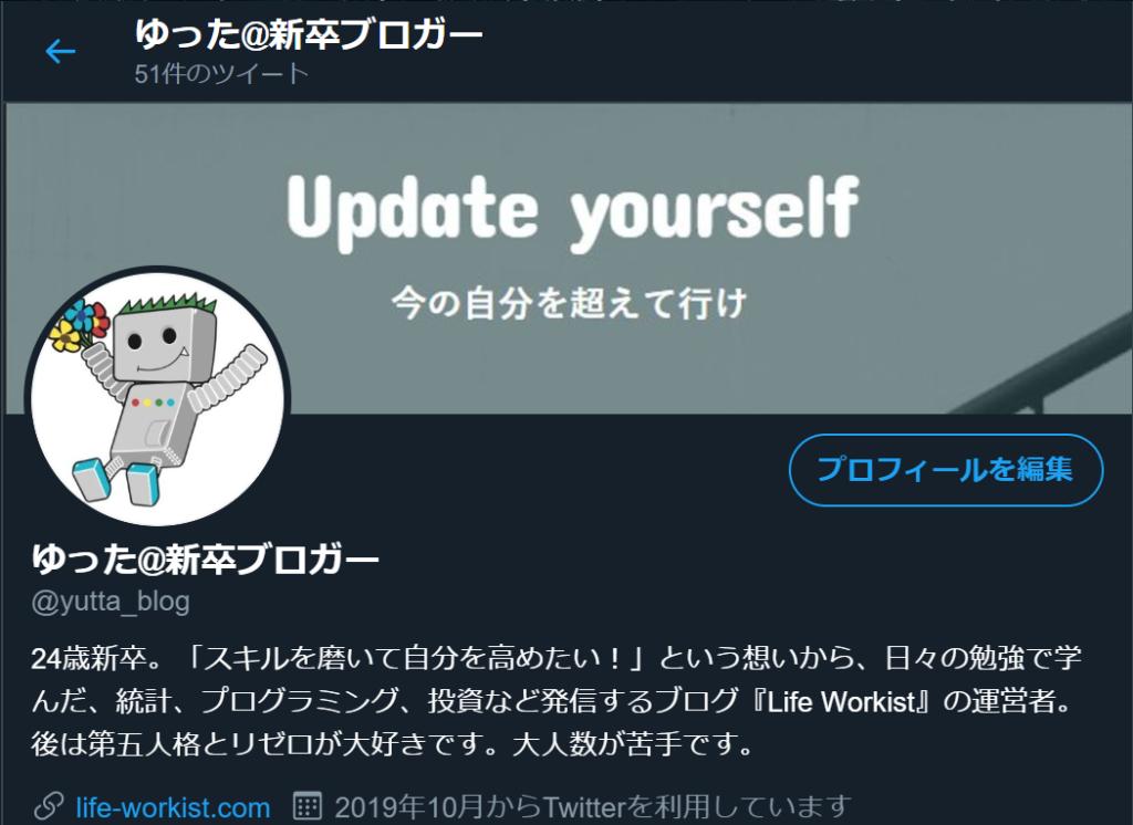 Twitterのプロフィール